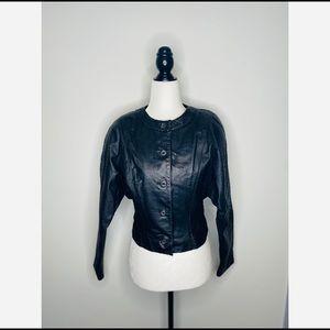 Wilson's Vintage Leather Moto Biker Jacket Black